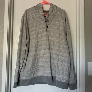 Lucky Brand Grey Hooded Henley Pullover Size XXL